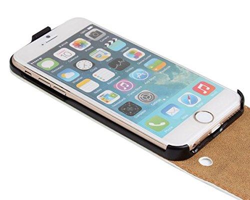 iPhone 6 hülle, iPhone 6s Holster hülle Flip nach oben und unten Handy hülle Premium PU Leder Tasche Flip Case Etui Handy Schutz Hülle für Apple iPhone 6 / 6s - Braun Lila