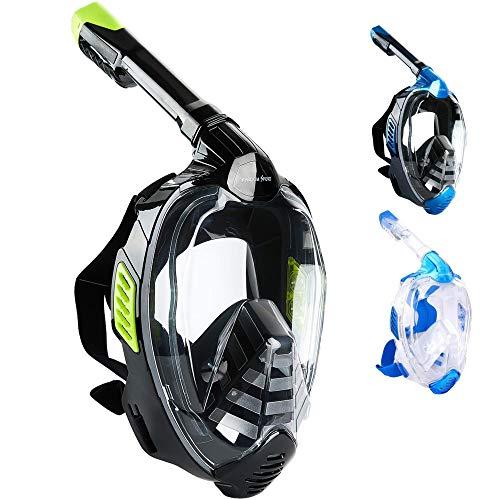 Khroom® CO2 sichere Schnorchelmaske Vollmaske 2019   bekannt aus YouTube   Seaview X - Tauchermaske für Erwachsene und Kinder. (Schwarz, L/XL)