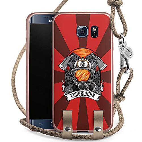 DeinDesign Carry Case kompatibel mit Samsung Galaxy S6 Handykette rosé Gold Handyhülle zum Umhängen Feuerwehr Rettungsdienst Feuerwehrmann