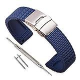 Vinband Bracelet Montre Haute Qualité Remplacer Silicone Bracelet Montre Homme Femme Noir - 18mm, 20mm, 22mm, 24mm Caoutchouc Montre Bracelet avec Quick Release Pins & Boucle Déployante (18mm, bleu)