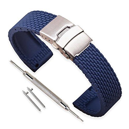VINBAND Unisex Wasserfest Gummi Uhrenarmband mit Edelstahl Silber Faltschließe 22mm Blau (Clip Armband Mit Strap)