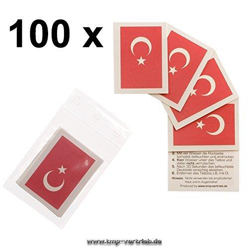 100er Türkei Tattoo Fahne Fan Set - EM Fanartikel 2016 - Türkei Flag (100)
