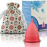 Athena Menstruationstasse - Die Nr. 1 unter den wiederverwendbaren Menstruationsbechern, inklusive Bonus-Tasche - Größe 2 in Transparentes Rot - Garantierter Auslaufschutz