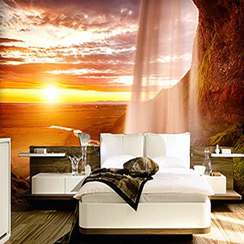 Fototapete 3d effekt Modische Innenarchitektur Tapeten 3D untergehende Sonne Wasserfall Foto Tapeten Roll Home Interior Decoration Wallpaper-450X300CM -