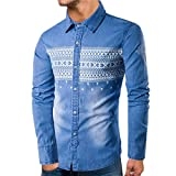 Kanpola Herren Jacke Männer Winter Freizeitjacke Sportjacke Sweatshirts Sport Mantel Shirt Slim Sweater Jeanshemd(Blau, 48)