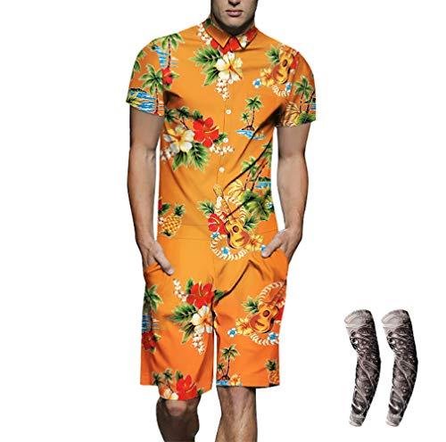Morbuy Herren 3D Jumpsuit, Sommer Gedruckt Grafik Overall Kurze Hose Kurzen Ärmel Shirt arbeitskleidung -