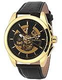 EASTPOLE Herren Mechanische Armbanduhr Automatikuhr Schwarz Leder Uhrband Skelett Uhr PMW492 + EASTPOLE Geschenkbox