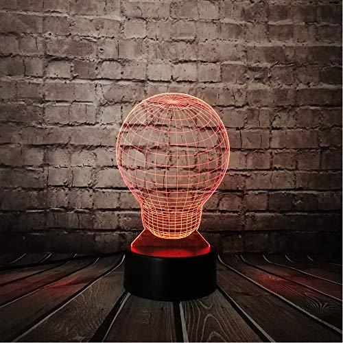 Creative Big Light Bulb Shape 3D Usb Led Rgb Lamp Illusion Night Light Multicolor Home Table Decor Optical Source Lighting Gift