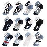 Lictin Baby Socks Non Skid Socks - 12 Pairs Boys Girls Assorted Colored Socks, 1-3 Year Blue/White/Black Cotton Boys Socks