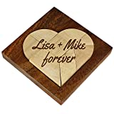 Magische Geschenkbox - Kleines Herz Puzzle aus hellem Holz mit Gravur – Personalisiert mit Ihrem Wunschtext - Legespiel - Denkspiel – Knobelspiel - Geduldspiel in edlem Rahmen