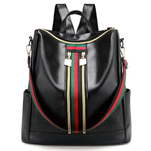 Damen PU Leder Wasserdicht Rucksack Casual Reise Daypack Vintage Schultasche Schulrucksack College Tasche für Mädchen und Frauen Schwarz