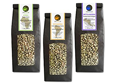 Green Coffee Beans Kenya, Colombia, Guatemala (highland raw coffee beans, 3x500g value pack) by Rohebohnen