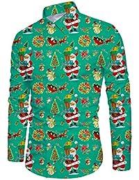 Funnycokid Men's Shirt Printed Long Sleeve Button Down Holiday Style Hawaiian Shirts