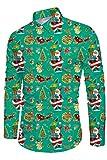 Funnycokid Herren Ugly Christmas Hemd Druck Tier Langarm Weihnachten Vintage Featival Urlaub Style Herren Xmas Hemd Grün