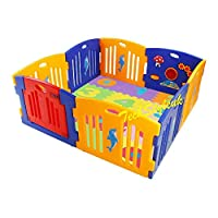 Baby Playpen Kids Activity Centre Safety Play Yard Home Indoor Outdoor New Pen with Activity 8 Panel, Floor Mats English Alphabet (A-Z) and Numeric Number (0-9) (Playpen with Alphabet Mats (A-Z))