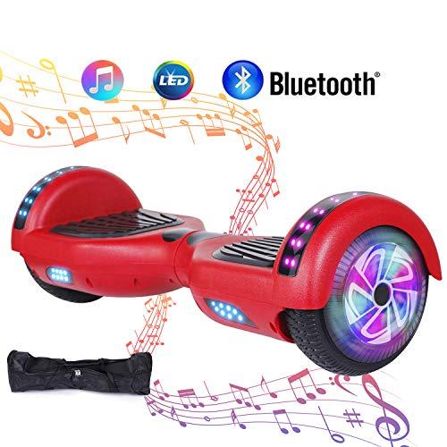 "Huanhui 6.5\"" Hoverboard Elektro Scooter, Bluetooth Lautsprecher, Starker Dual Motor 2 * 300W, LED Lights, Elektro Skateboard Self Balance Scooter, rot"