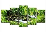 Fünf aufeinanderfolgende Gemälde moderne dekorative Inkjet-Gemälde Gemälderahmen Waldbach @ 40x60cmx2_40x80cmx2_40x100cm