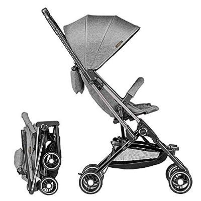Silla de paseo Ligera Marco de Aleación de Aluminio Compacta Plegado con una mano Respaldo Reclinable Arnés de Cinco Puntos de 0 meses a 36 meses