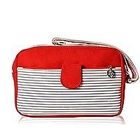 GSPStyle Unisex Canvas Shoulder Bag Stripe Pattern Cross Body Style Colour Red