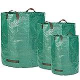 Glorytec 3X Gartenabfallsack 160L + 300L + 500L - 3 Premium Gartensack im Set - Stabile Gartensäcke aus Extrem Robustem Polypropylen-Gewebe (PP) 150gsm - Laubsack Selbstehend und Faltbar
