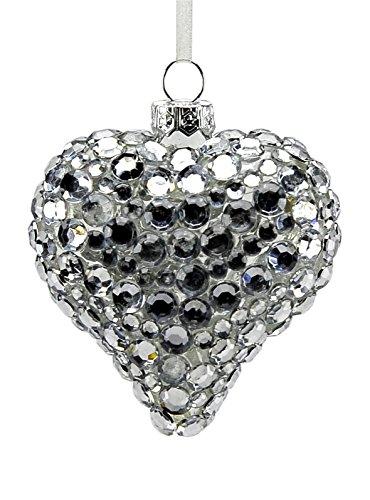 Boule en verre cœur argent cm.8