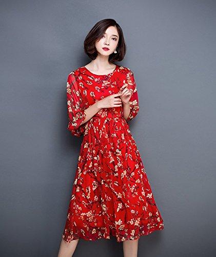 Bigood Robe à Fleur Femme Mousseline de Soie Col Rond Plage Casual Fleur Rouge