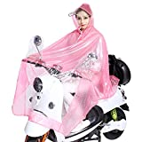 Motorbike Waterproof Clear Dots Large Rain Cape Coat Electric Mobility Scooter Motorcycle Hooded Transparent Thick Raincoat Environmental EVA Rain Poncho Rain Mac Rainwear for Single Person Motorcycling, One Size, Red With White Dots