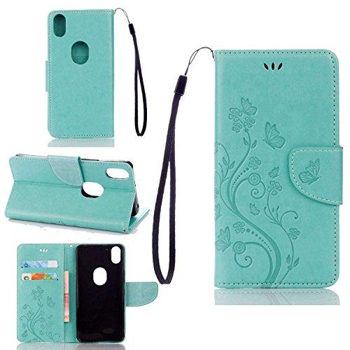 pinlu Schutzhülle Für BQ Aquaris X5 Plus (5 Zoll) Handyhülle Hohe Qualität PU Ledertasche Brieftasche Mit Stand Function Innenschlitzen Design Schmetterling Grün
