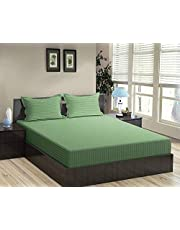 "Trance Home Linen 100% Cotton 210 TC King Fitted Bedsheet 78"" * 72"" with 2 Pillow Covers"