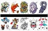 Grasshine 10pcs Tattoo Hund temporäre Tatoo in einem Paket, einschließlich Wolf, Tiger, Frauen mit Eule, Dame, Leopard mit Blume, schöne Hunde, Hirsche mit Brille, Rose, Frauen, Kran, etc.
