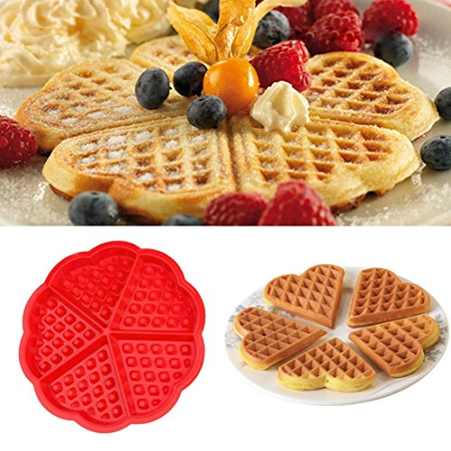 SYGA Heart-Shaped Silicone Waffle Mold Cake Cookie Muffin Chocolate Bakeware Baking Tool, Red
