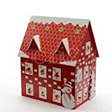SSITG Adventskalender Holzhaus Weihnachtskalender 2 Klappfächer und 22 Schubladen