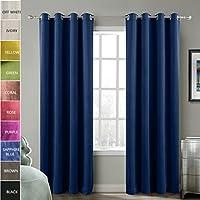 ChadMade Blackout Lined Premium Velvet Curtain Sapphire Blue 90W x 90L Inch (1 Panel), Eyelet Grommet For Livingroom Bedroom Theater Studio, BIRKIN Collection