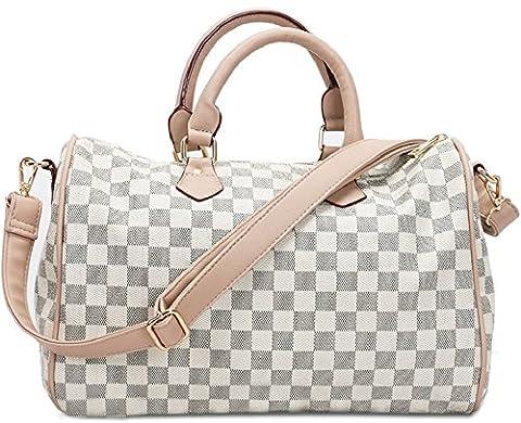 Gossip Girl - Designer Inspired Check Barrel Bowling Duffel Bag Handbag With Long Strap (Check - Cream)