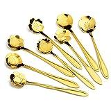 LamberthcV 8pz Durable creative in acciaio INOX lucido a forma di fiore colorato zucchero caffè cucchiaio posate Gold