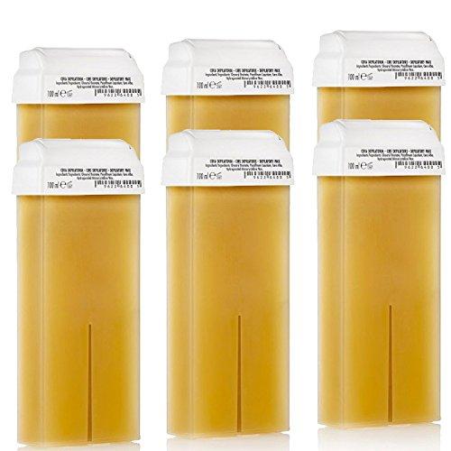 Kosmetex Honig Wachspatrone Breit, Enthaarungswachs, Warmwachs, heiss wachs, Körperpflege Haarentfernung, 100ml, 6 Stück