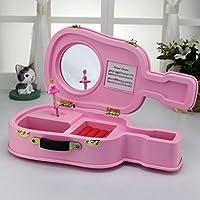 Preisvergleich für Baby-lustiges Spielzeug Europäischen Stil Exquisite Gitarre Design Spieluhr Schmuckschatulle Home Decoration_Pink