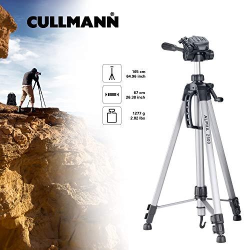 Cullmann ALPHA 2500 Stativ mit 3-Wege-Kopf (2 Auszüge, Gewicht 1277g, Tragfähigkeit 2,5 kg, 165cm Höhe, Packmaß 67cm)
