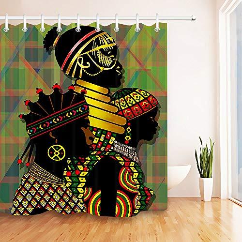 Yinyinchao Badezimmerdekoration,3D-Hd-Druck Verblasst Nicht,Indian Ethnic Tribe Black Girl,Duschvorhang Aus Polyestergewebe,12 Duschhaken,180X180 cm,Wohnaccessoires Black Indian Girl