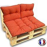 CALINUIT - KIT Complet 3 Coussins 1 Assise + 2 DOSSIERS pour CANAPE Euro palettes 120 * 80 cm Orange épaisseur 17 cm ! Le Moins Cher du Net!