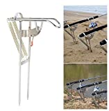 Soporte para caña de pescar con ajuste automático de doble muelle y elevador automático de metal