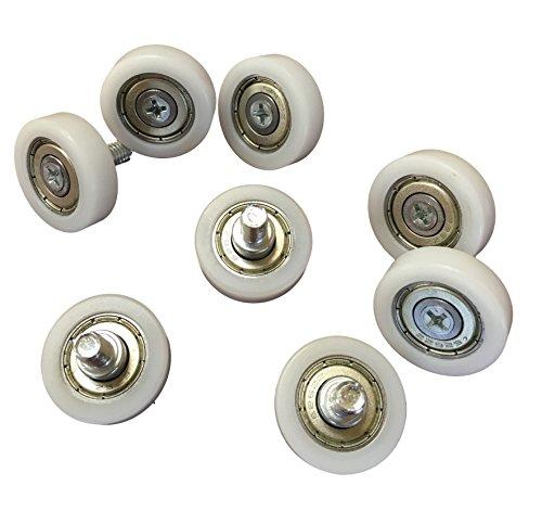 8x M6 Kugellager Rollen Räder - 26mm Rad-Durchmesser - Industrie-Qualität - für z.B. Schiebetüren, Fahrzeuge - Aussengewinde M6