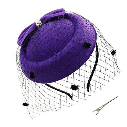 Umeepar Damen Bowknot Pillbox Fascinator Hut Hochzeit Tea Party Hüte mit Schleier Stirnband Clip (Violett) Damen-tea-party
