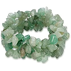 "Young & Forever ""D'vine Collection"" Reiki Crystal ""luck"" Semiprecious Gemstone Chips yoga Healing Bracelet for women / girls (Green Aventurine)"