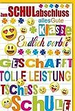 Karte Schulabschluss Spruch fröhliche Emojis Linienblatt Hintergrund Briefumschlag gelb - Liefermenge 6 Stück