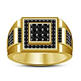 Vorra Fashion Awesome Engagement Band Ring 14K Gold Plated 925 Sterling Silver Black CZ Round Cut (14)