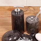 Wohnfreuden Marmor Seifenspender rundum poliert 15 cm Höhe schwarz