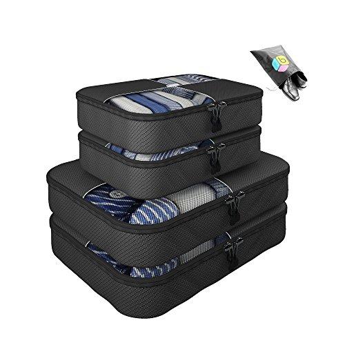 Organizer per valigia UNA SETTIMANA DI SALDI - Set da 5 pezzi - 2 Grande & 2 medio - Inclusa borsa riponi-scarpe in omaggio - Garanzia a vita - By Bingonia - Nero
