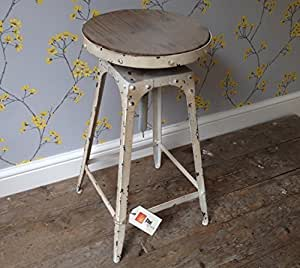 steel magnolias tabouret de bar style vintage industriel urbain rustique blanc ancien amazon. Black Bedroom Furniture Sets. Home Design Ideas
