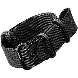 Nylon Watch Strap by ZULUDIVER®, IP PVD Black ZULU Buckles, Black, 22mm